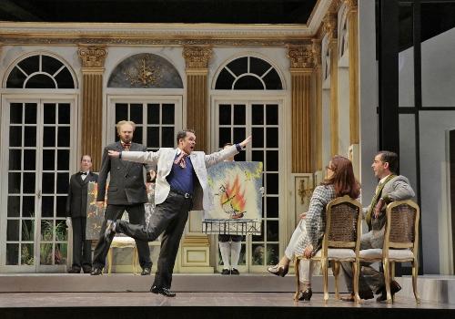 David Govertsen (La Roche), Joshua Hopkins (Olivier), Susan Graham (Clairon), and Craig Verm (The Count) in 'Capriccio.'