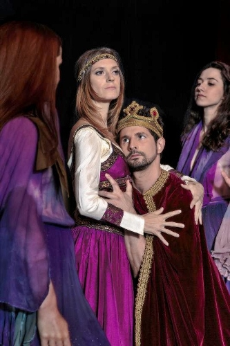 [center] Martin Harvey as Macbeth and Mary Beth Hansohn as Lady Macbeth in Dances Patrelle's 'Macbeth.'