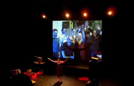 Silvana Cardell in Philadelphia along with Buenos Aries cast & crew via Skype<br>taking bows.