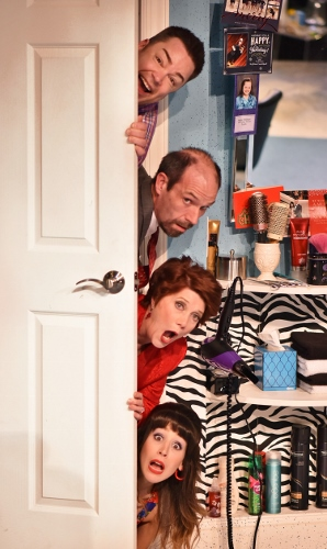 From top, Tony Whitcomb (Daniel Klingler), Eddie Lawrence (Michael Shelton), Mrs. Eleanor Shubert (Suzanne Stark) and Barbara DeMarco (Jenny Reber) are the prime suspects in Beef & Boards Dinner Theatre's 2017 Season opener, Shear Madness. Now on stage through Jan. 29, this madcap murder mystery takes place in a not-so-typical Indianapolis hair salon – and the audience decides how it ends!