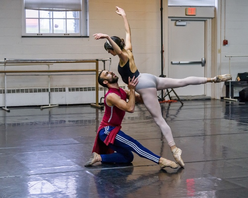 Verb Ballets' Nathanael Santiago and Kate Webb rehearsing Andrew Carroll's '3:00am.'