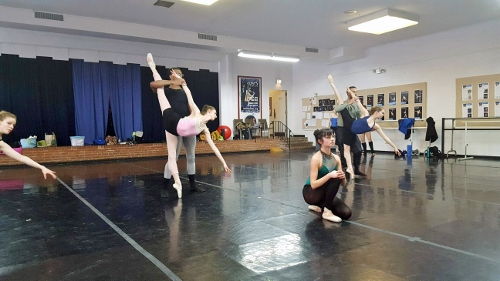 "Verb Ballets dancers rehearsing Michael Hinton's ""Broken Bridges."""