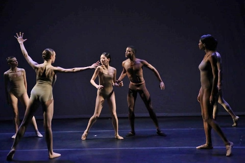 Center: Chanmee Jeong and Acée Francis with the cast in 'March to Eternity.'