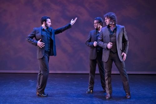 "Pictured L to R - Isaac Tovar, Antonio Hidalgo, Angel Muñoz<br>in ""Caminos,"" choreography by Angel Muñoz."