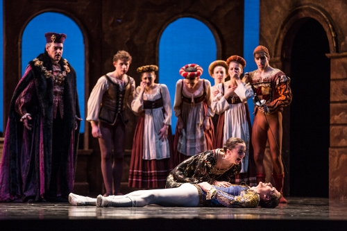 "(Center) BalletMet's Carly Wheaton and Austin Moholt-Siebert in Edwaard Liang's ""Romeo and Juliet."""