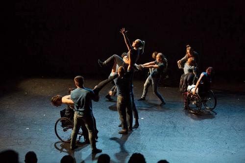 "Dancing Wheels dancers in David Dorfman's ""Imagine, If you will…"""