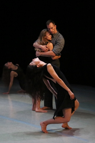 Photo of Laurel Dalley Smith, So Young An, Natasha M. Diamond-Walker and Lloyd Knight in Lil Buck's Lamentation Variation.
