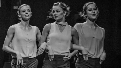 "From 2017's 'The Benefit': (l-r) BalletMet's Jessica Brown, Columbus Dance Theatre's Kerri Riccardi and BalletMet's Karen Wing in Christian Broomhall's ""Bach Brandenburg Concerto No. 2."""