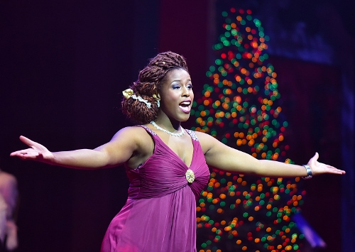 "Renée Jackson performs a show-stopping ""O Holy Night"" in the 25th Annual A Beef & Boards Christmas, now on stage at Beef & Boards Dinner Theatre."