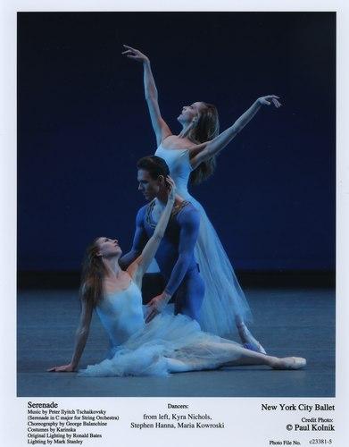 Kyra Nichols, Stephen Hanna and Maria Kowroski in NYCB's Serenade