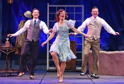 "Good Morning: Cosmo Brown (Buddy Reeder), left, and Don Lockwood (Timothy Ford), right, dance with Kathy Selden (Kimberly Doreen Burns) as they sing the famous ""Good Morning"" in Beef & Boards Dinner Theatre's production of 'Singin' in the Rain,' now on stage through May 26."