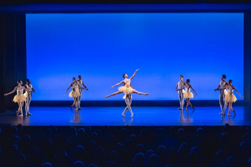 (Center) Crystal Serrano, Davon Doane and Dance Theatre of Harlem in 'Brahms Variations'.