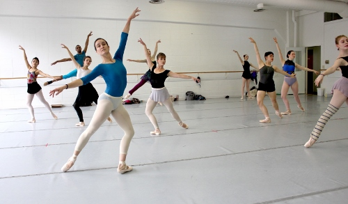 Indianapolis Ballet dancers in a rehearsal of 'Éclat!' - (left side) Abigail Bixler, Khris Santos, Sarah Marsoobian, Jessica Miller, Katherine Sawicki (leaping, partially blocked), Abigail Rose Crowell<br>(Right side) Elaine Rand, Rowan Allegra, Loretta Williams, Camila Ferrera.
