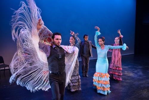 """Flamenco Vivo Carlota Santana<br><br>""""Pa' Triana Voy""""<br><br>Choreography by José Maldonado<br><br>Pictured: L to R - Isaac Tovar, Eliza González, Antonio Hidalgo, Laura Peralta, Leslie Roybal."""