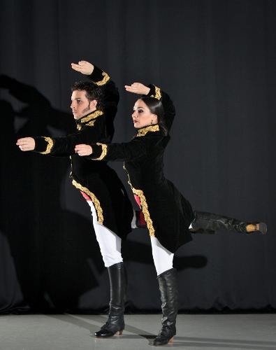 "Flamenco Vivo Carlota Santana<br>""Mujeres Valientes""<br>Choreography by Belén Maya<br><br>Pictured: Elisabet Torras and Isaac Tovar as Manuela Sáenz and Simón Bolívar, respectively"