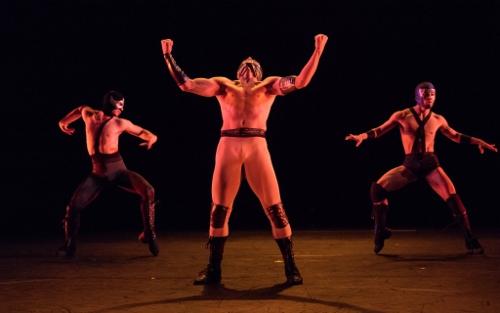 Armitage Gone! in Karole Armitage's 'Donkey Jaw Bone' (2018). Dancers Alonso Guzman, Yusaku Komori, Cristian Laverde-Koenig.