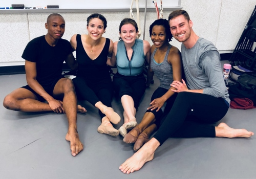 (L-R) GroundWorks dancers Robert Rubama, Gemma Freitas Bender, Annie Morgan, Alexis Britford and Tyler Ring.