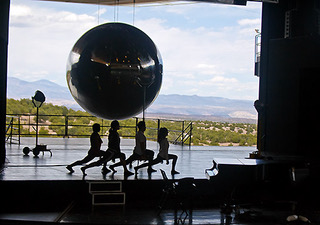 "The corps de ballet rehearse ""Dr. Atomic"" in front of both the prop ""gadget,"" (what Dr. Oppenheimer's team called the atom bomb) and the Jemez Mountains where the actual weapon was born."