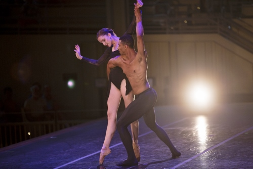 Charlotte Ballet's Chelsea Dumas and Juwan Alston with the Chautauqua Symphony Orchestra in Mark Diamond's 'Scherzo'.