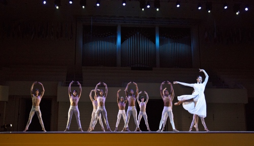 Charlotte Ballet dancers including Raven Barkley (front) perform in the 'Winter' section of Sasha Janes' ballet 'The Four Seasons' with the Chautauqua Symphony Orchestra.