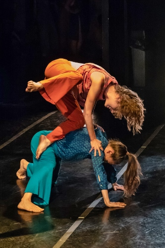 """""""Here, Doing Our Best or What We Can Remember,"""" choreography by Stephanie Nugent. Dancers: Caitlin Negron and Morgan Skiles."""