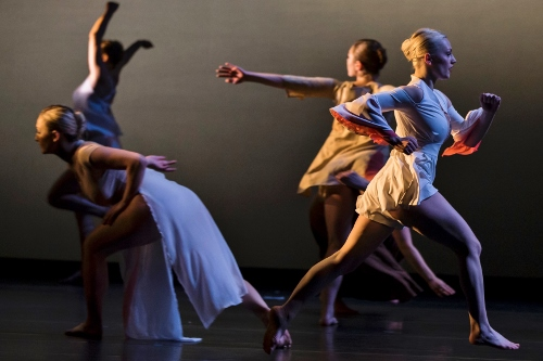 """Hot Dust (obscured galaxies),"" choreography by Elizabeth Shea. Dancers: Gracie Black, Veronica Bone, Julianne Rice, Elaina Welch."