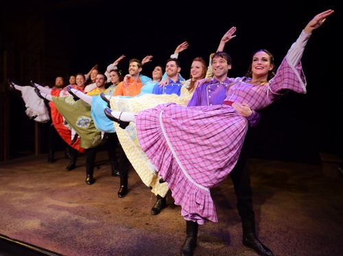 "Six of the Pontipee brothers sweep the ladies off their feet at the town social in Seven Brides for Seven Brothers, now on stage at Beef & Boards Dinner Theatre through Oct. 7. This rip-roaring stage version of the classic MGM film is bursting with energetic dance numbers and famous songs including ""Wonderful, Wonderful Day,"" ""Bless Your Beautiful Hide,"" and ""Goin' Courting."""