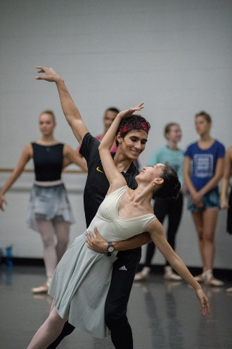"Grand Rapids Ballet dancers Josue Justiz and Yuka Oba rehearsing George Balanchine's ""Allegro Brillante""."