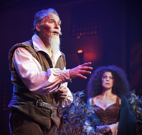 "The mission of each true knight: Don Quixote (Richard White), left, tells Aldonza (Erica Hanrahan-Ball) that ""the quest"" is the mission of each true knight in Beef & Boards Dinner Theatre's production of Man of La Mancha, now on stage through Nov. 18. Featuring the powerful song ""The Impossible Dream,"" Man of La Mancha is the winner of five Tony Awards, including Best Musical. It tells the story of Don Miguel de Cervantes' imprisonment during the Spanish Inquisition. Cervantes includes his fellow prisoners in his play about the fictional windmill fighting knight, Don Quixote, transporting them to La Mancha where they learn about chivalry, honor, duty, and love. The show is rated PG-13 for some adult content. Ticket range from $44 to $69 and include the dinner buffet, fruit & salad bar, and select beverages. For reservations, call the box office at 317.872.9664. For more information, visit beefandboards.com."