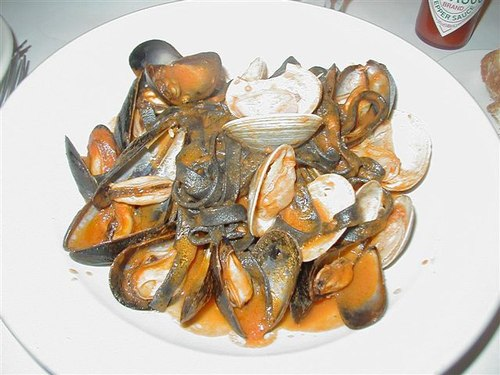 Steamed Mussels and Clams on Black Fettucine