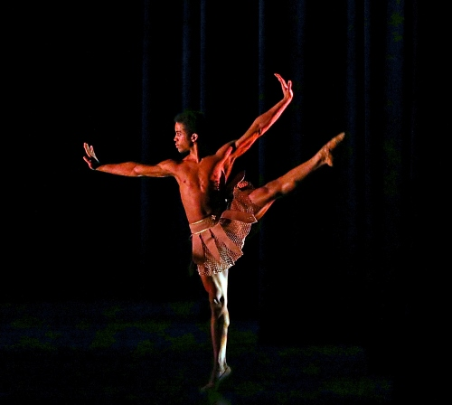 IB company apprentice Leonard Perez strikes a pose during Scott Jovovich's The Hunt, part of Indianapolis Ballet's production Love is in the Air, performed Feb. 15-17 at The Tobias Theater at Newfields.
