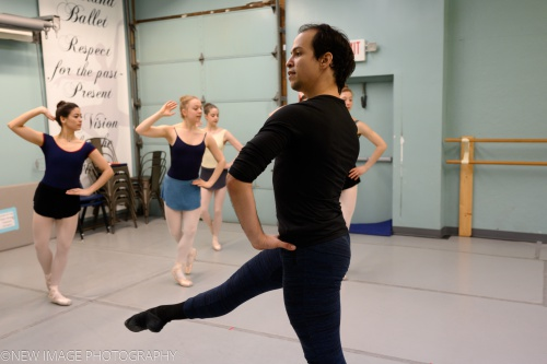 Rainer Diaz and Cleveland Ballet dancers rehearsing Coppélia.