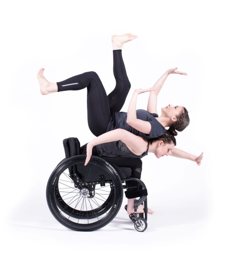 Meredith Aleigha Wells and Celina Speck of The Dancing Wheels Company in Od:yssey choreographed by Marc Brew.