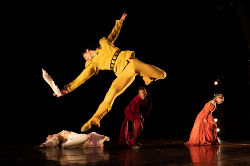 Jesse Obremski (front) and company in 'The Moor's Pavane'.