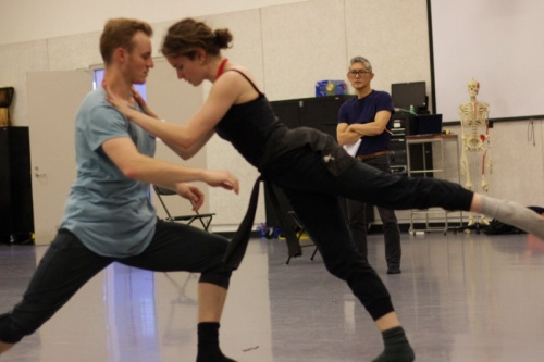 GroundWorks' artistic director David Shimotakahara (rear) rehearsing with dancers Spencer Dennis (left) and Annie Morgan.