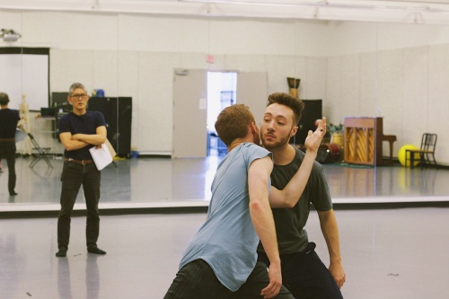 GroundWorks' artistic director David Shimotakahara (rear) rehearsing with new dancers Spencer Dennis (left) and Michael Arellano.