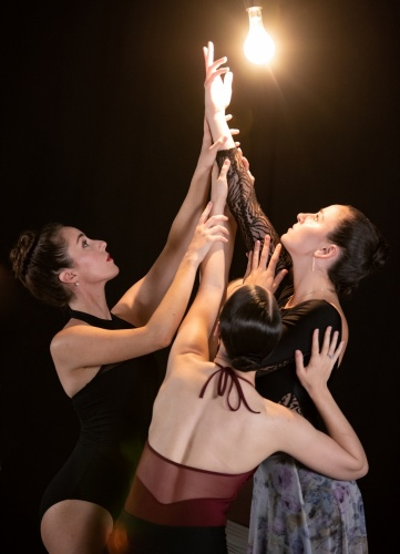 Deos Contemporary Ballet dancers Kristen Hammer, Christine Settembrino, and Kathryn Tokar rehearsing Tess Sinke's 'Remembrance.'