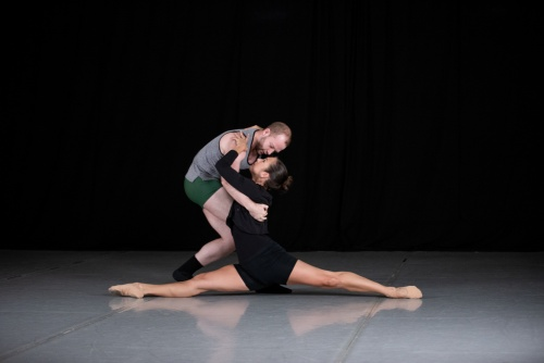 Deos Contemporary Ballet dancers Michael Burke and Melissa Ludwig rehearsing Tess Sinke's 'Remembrance.'