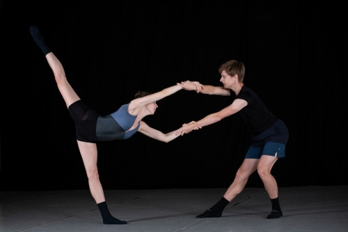 Deos Contemporary Ballet dancers Gracie Holway and David Sent rehearsing Tess Sinke's 'Unfinished.'