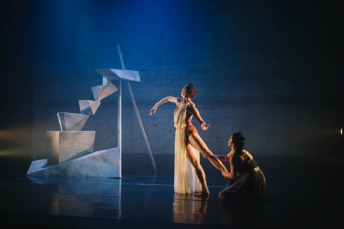 Elu Dance Company's (L-R) Mikaela Clark and Mackenzie Valley in 'barefaced.'