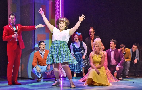Tracy Turnblad (Adee David), center, introduces herself as the newest dancer on the Corny Collins Show in Beef & Boards Dinner Theatre's production of Hairspray, now on stage through Oct. 6. Broadway's big, bold, beautiful hit won eight Tony Awards, including Best Musical.