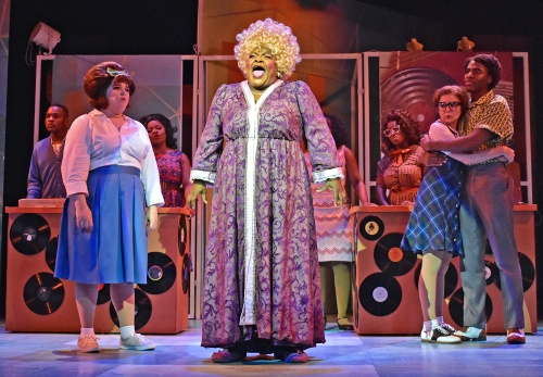 "Motormouth Maybelle (Tarra Conner Jones), center, sings a powerful ""I Know Where I've Been"" in Beef & Boards Dinner Theatre's production of Hairspray, now on stage through Oct. 6. Broadway's big, bold, beautiful hit won eight Tony Awards, including Best Musical."