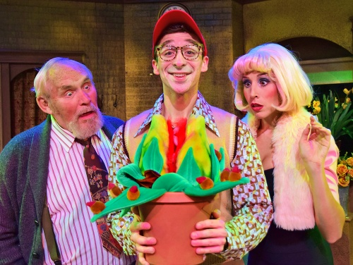 "Seymour Krelborn (Joey Boos), center, introduces Mr. Mushnik (Douglas E. Stark) and Audrey (Jenny Reber) to his strange and unidentified plant, which he has affectionately named ""Audrey II"" in Beef & Boards Dinner Theatre's production of Little Shop of Horrors, now on stage through Nov. 17."