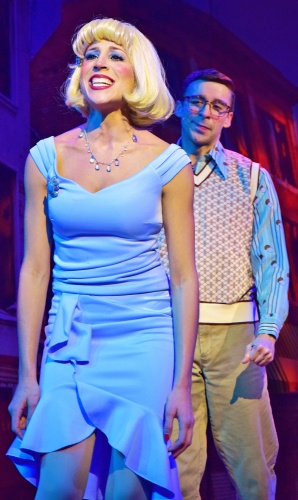 "Audrey (Jenny Reber) and Seymour (Joey Boos) sing ""Suddenly Seymour"" as they discover their feelings for each other in Beef & Boards Dinner Theatre's production of Little Shop of Horrors, now on stage through Nov. 17."