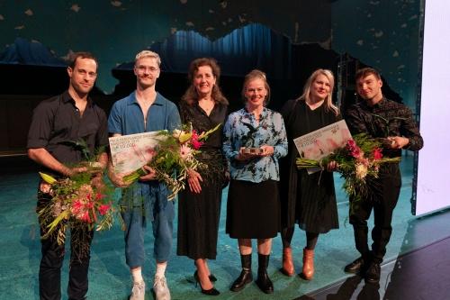 (L-R) Connor Schumacher, Arno Schuitenmaker, Minister (Secretary of Cultural Affairs) Ingrid van Engelshoven, Connie Jansen, Cecilia Moisio, Redouan Ait Chitt.