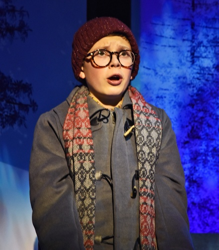 "Ralphie (Ben Kistner) is shocked upon unwittingly uttering the ""queen mother of dirty words"" in Beef & Boards Dinner Theatre's production of 'A Christmas Story: The Musical'."