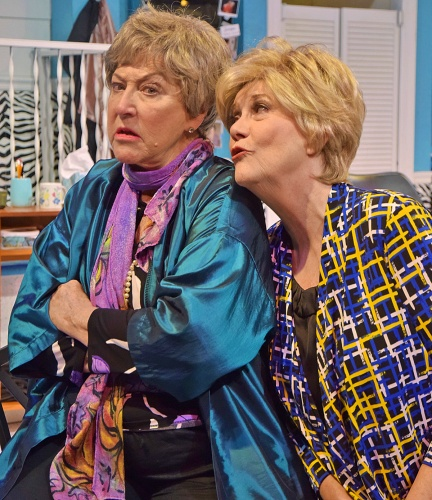 Attempting to apologize, Clairee (Suzanne Stark), right, tells Ouiser (Kay Francis) 'you know I love you more than my luggage' in Beef & Boards Dinner Theatre's production of 'Steel Magnolias.'