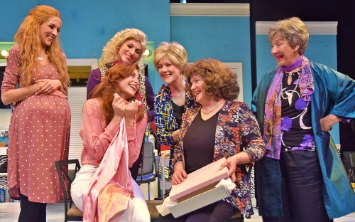 Beef & Boards Dinner Theatre's production of 'Steel Magnolias,' starring (from left) Morgan Jackson as Annelle, Lari White as Shelby, Deb Wims as Truvy, Suzanne Stark as Clairee, Diane Kondrat as M'Lynn, and Kay Francis as Ouiser.