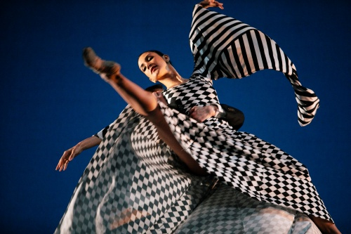 "One of the costumes that Bekah Nettekoven Tello designed is this flowing black and white checkered dress. She will explain the process of its creation at the Feb. 11 ""Evening with the Artist""."