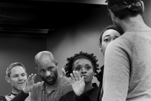 (L - R) Richard Oaxaca, Domonique Glover, Dijon Kirkland, Kassandra Lee and Caleb Waybright in a rehearsal of 'Red Riding Hood & the White Witches'.